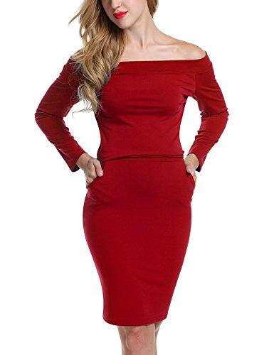 Bricnat Damen Kleid Etuikleid Langarm Schulterfrei Bleistiftkleid Einfarbig mit Taschen Festlich Cocktail Abendkleid Sexy Paket Hüfte Elegant Wickelkleid Rot