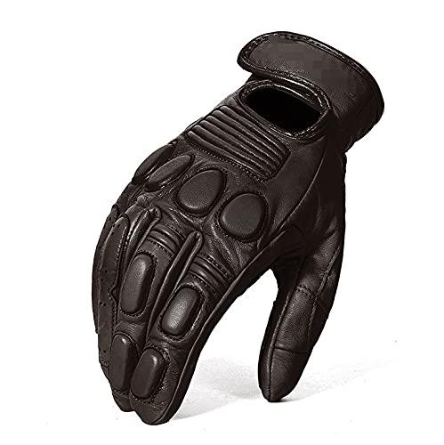 QWERTYUI RUNSHIBAIHUODIAN Guantes de Motocicleta de Cuero Vintage Piel de Oveja a Prueba de Agua Pantalla táctil Moto Protective Engranajes Moto Motocross Guantes (Color : Black, Size : XL)