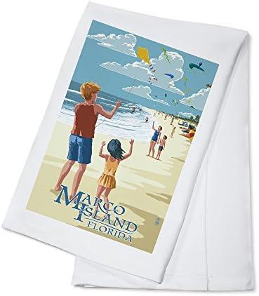 Marco Island Florida Kites on Beach 100 Cotton Kitchen Towel product image