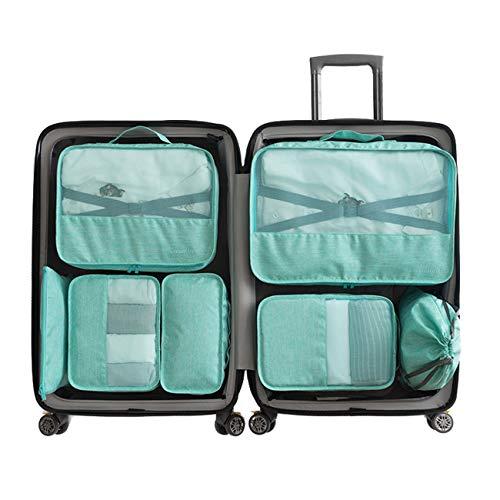 Set 7 Cubi per imballaggio -3 Cubi per imballaggio + 2 buste + 1 busta per biancheria intima + 1 borsa per scarpe(Green)