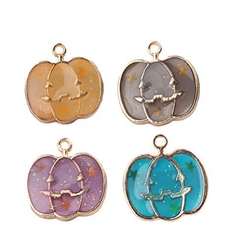 SOIMISS 4pcs Halloween Double- Sided Pendant Pumpkin Charms DIY Jewelry Making Accessories for Necklace Bracelet (Blue+ Purple+ Grey+ Orange)