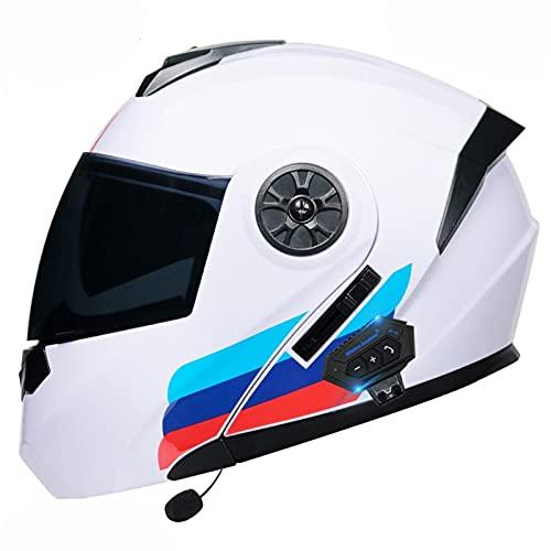 Casco de motocicleta con Bluetooth de cara completa, con ventilación cómoda, extraíble y lavable, doble visera aprobada por DOT/ECE (color: lentes oscuras B, tamaño: grande de 59 a 60 cm)