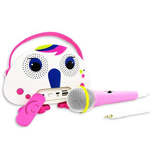Skynew カラオケ 子供 プレゼント マイク付きスピーカー 充電式バッテリー Bluetoothで簡単に接続 スマホに対応 小型 軽量 日本語説明書付き 誕生日 プレゼント ピンク
