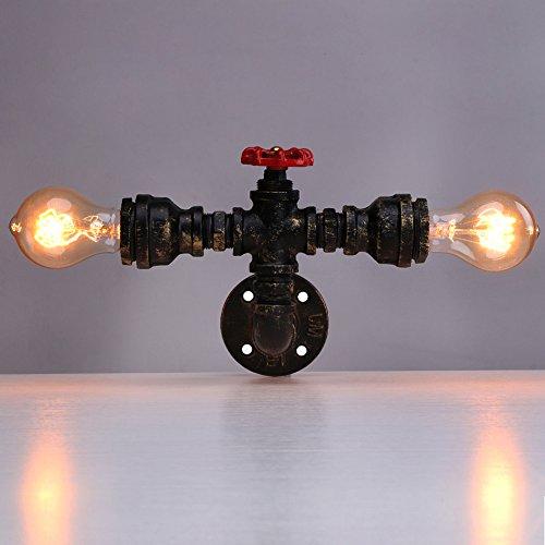 Linkax Apliques de pared de tubo de agua vintage industrial Cobre lámpara de pared Tubo de metal Loft Luz de pared hogar Base de la lámpara E27(bombillas no incluidas)