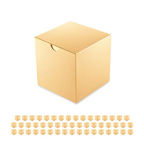 PACKQUEEN 50 Gift Boxes 4x4x4 Inches, Paper Gift Boxes with Lids for Crafting, Gift Ornaments, Cupcakes, Candles, Wedding Favor Boxes, Glossy Gold, Textured Finish