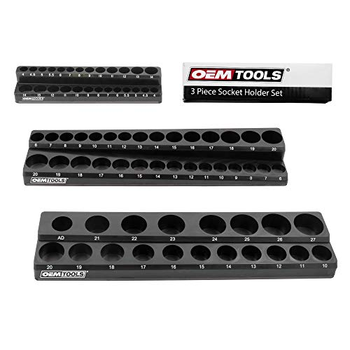 OEMTOOLS 22487 3 Piece Magnetic Socket Organizer, Holds 75 Metric Sockets, 1/4 Inch, 3/8 Inch, and 1/2 Inch Shallow and Deep Socket Holder, Tool Box Organizer, Black