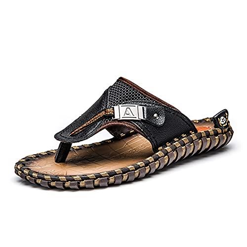 Beifeng Sandalias de cuero de los hombres de verano de la moda de lujo Flip Flops Casual Zapatillas Planas de Playa Zapatos para Adultos Masculinos