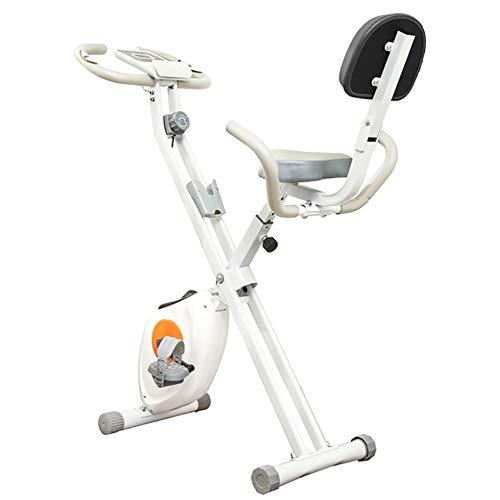 Erru Bicicleta Estática Bicicleta Estática Plegable con Respaldo y Sensor de Pulso, Mini Bicicleta de Ciclismo Vertical de Fitness de Interior para Personas Mayores Cardio Entrenamiento, Blanco