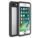 Fansteck iPhone 8 Plus iPhone 7 Plus Waterproof Case, IP68 Full-Body Protect Rugged Slim Crystal Case with Built-in Screen Protector, Waterproof/Snowproof/Shockproof/Dirtproof, 5.5 inch (Black)