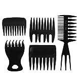 5pcs ensemble peigne à cheveux, kit d'outils de coiffage professionnel soins capillaires, conception de dents larges avec un peigne de coiffure large
