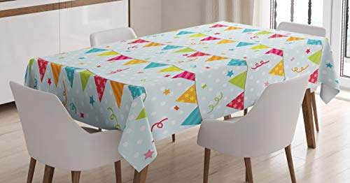 Ambesonne Birthday Tablecloth, Colorful Triangular Party Flags on The Ropes Swirls and Stars Kids Design, Dining Room Kitchen Rectangular Table Cover, 60' X 84', Pale Blue