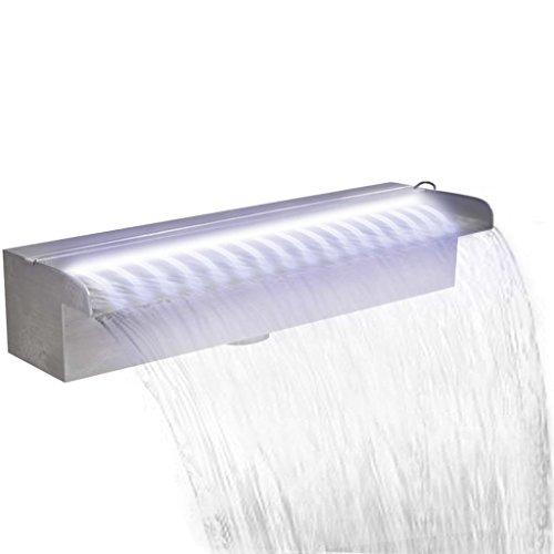 UnfadeMemory Rechteckige Wasserfall Pool-Fontäne Edelstahl Wasserfontäne 30/45/60/90/120/150 cm Teich Schwimmteich Wasserspiels (45 cm, Mit LED)