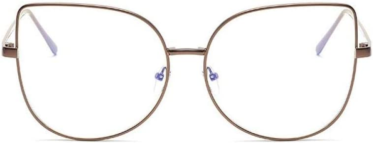 YHKF Occhiali Trasparenti Oversize con Montatura in Lega Cat Eye Women Clear Len Montature per Occhiali Occhiali