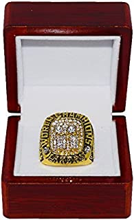 LOS ANGELES LAKERS (Kobe Bryant) 2001 NBA FINALS WORLD CHAMPIONS (Back 2 Back Champs) Rare & Collectible Replica National Basketball Association Gold NBA Championship Ring with Cherrywood Display Box