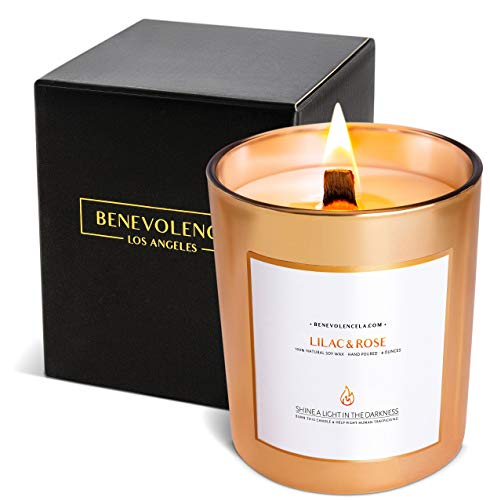 Benevolence LA Premium Lilac & Rose Scented Candles, Highly Scented Lilac & Rose Candle, All Natural Soy Candles Scented, 227 g | 45 Hour Long Lasting Soy Candle, Relaxing Aromatherapy Candles