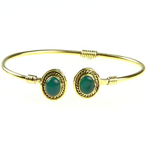 Chic-Net Messing Brass Armreif golden oval Seilmuster Jade nickelfrei verstellbar antik Tribal Schmuck