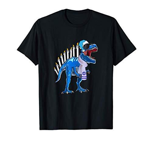 Menorasaurus Rex T Rex Dinosaur Hanukkah Gift For Kid Boys T-Shirt