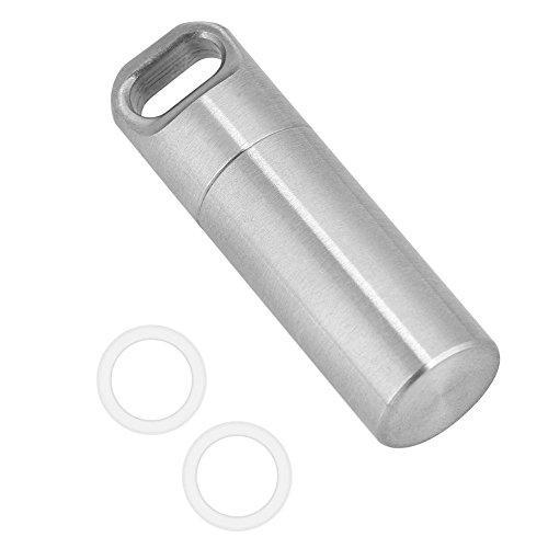 Asixx Mini Pillendose, Mini Kapsel Pillenbox Wasserdichte aus Edelstahl für Outdoor-Camping, Wandern, Klettern, usw,S/M/L(L)