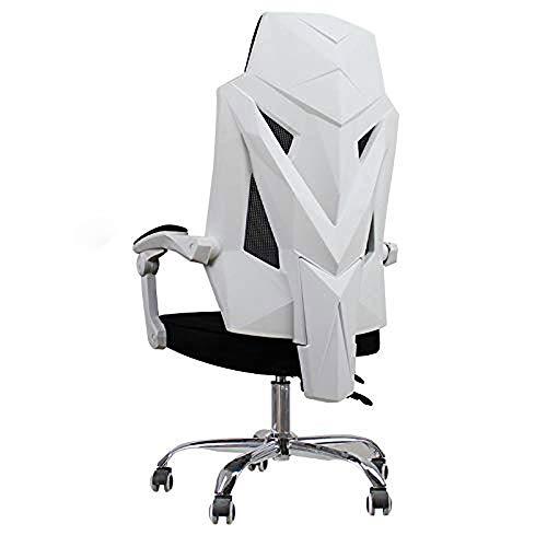 HIZLJJ Presidente de Juego - Sillas de Videojuegos Malla ergonómica con Respaldo Alto Racing Silla de la computadora de Estilo for Adultos con Soporte Lumbar (Color : White)