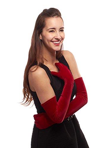 Venetian Velvet Opera Length Gloves for Ladies, Red