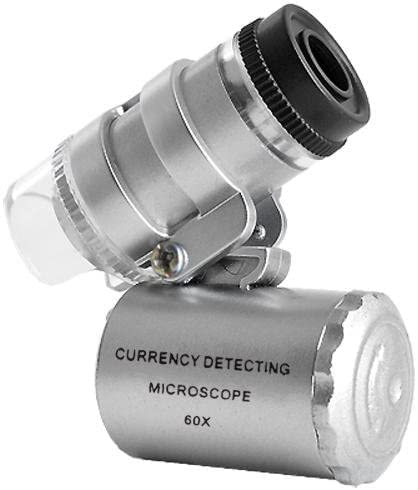 Mini Microscopio Monoculo con Luz Led y Lupa con luz UV para Deteccion de Billetes Falsos Filatelia Joyas 2150