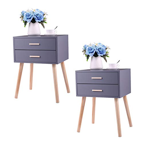 End Table Set of 2 with 2 Drawers Solid Wood, Mid Century Nightstand for Bedroom, Modern Bedside Table with 4 Wooden Legs, 17.7L x 13.8W x 23.6H, Grey