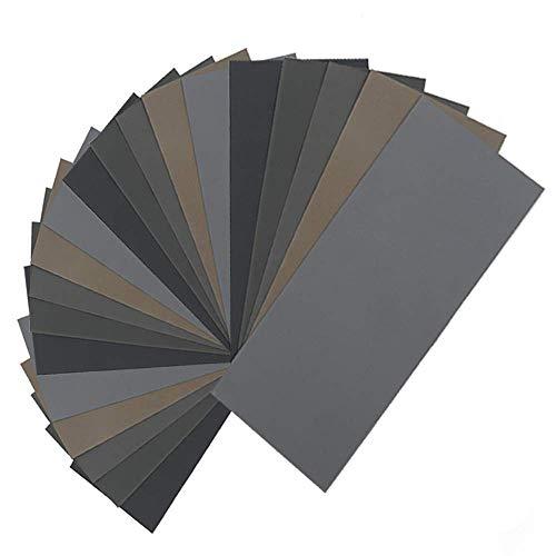 JLB 20 Stück nasses trockenes Schleifpapier, hochkörniges 1000/2000/3000/5000/7000 Schleifpapier-Sortiment Sortiment für Holzmetallpolieren Kfz-Sand, Q1