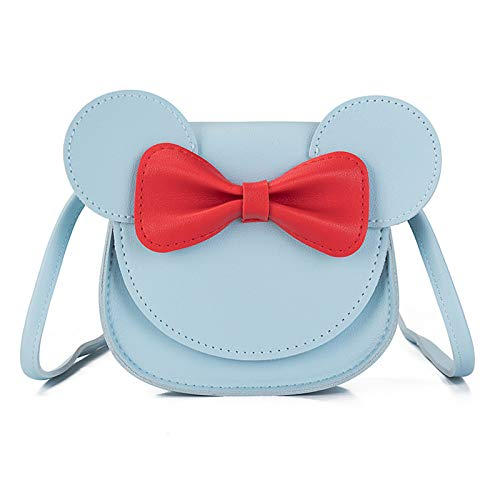 Little Girls Handbags - Shoulder Bag with Bow Knot Mini Flap Bag, Cute Mouse Ear Bow Crossbody Purse, PU Shoulder Handbag for Kids Girls Toddlers (Blue)