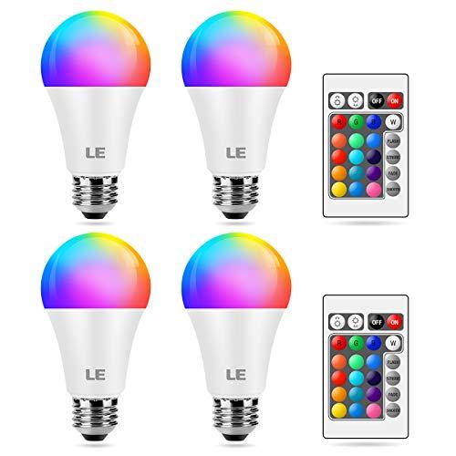 LE Farbwechsel E27 LED Lampe, 9W Dimmbar Birne mit Fernbedienung, RGB & Warmweiß, 16 Farben, 9 W = 60 W, 2700 Kelvin LED Leuchtmittel, Fernbedienung inklusive, 4 Stück