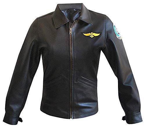 Prime-Fashion Pilot Aviator Top Gun Kelly McGillis Charlie Lederjacke - Schwarz - 46 DEX-Large