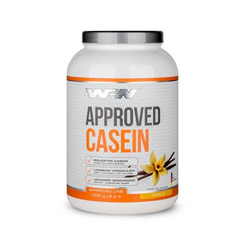 WFN Approved Casein - Vanille - 1 kg Dose - Casein Protein mit Laktase - Cremiges Eiweißpulver - Sehr gut löslich - 33 Portionen - Made in Germany
