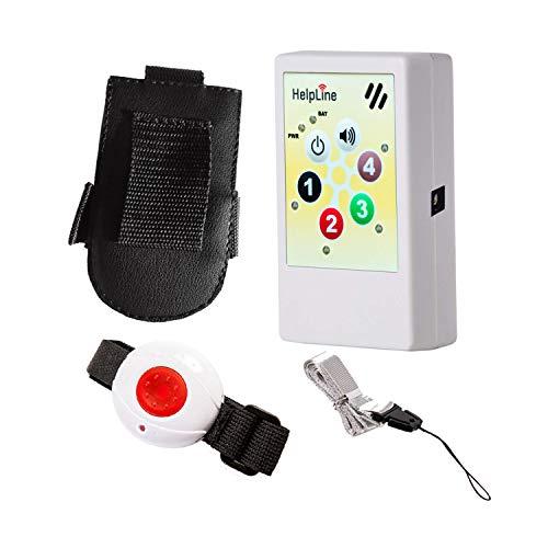 HelpLine2.0: Portables Hausnotrufgerät mit Funk-Notruf-Armband, Mobiler-Pflege-Alarm für zuhause und unterwegs, Pflegeruf-Set, tragbares Notrufsystem mit angenehmen Ruftonmelodien und Gürteltasche