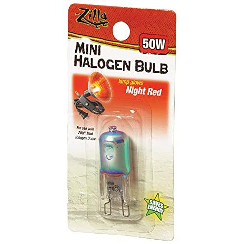 Zilla Reptile Terrarium Heat Lamps Mini Halogen Bulb, Night Red, 50W