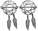 Pierced Owl Dream Catcher Nipple Shields Gem Dangle Barbell Barbells 14g 316L Stainless Steel - Sold as a Pair (Aqua)
