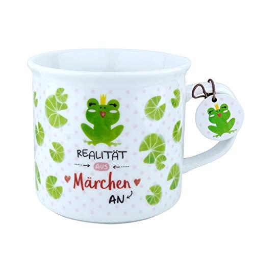 Die Geschenkewelt 46170 Kaffeebecher mit Frosch und Spruch Märchen, mit Geschenkanhänger, Porzellan, 40 cl Tasse,