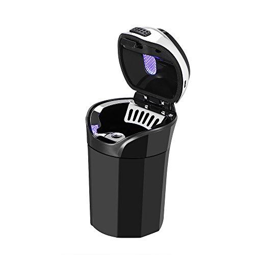 Cenicero del coche LED, cenicero de coche recargable inoxidable Cubo de basura con encendedor de cigarrillo extraíble y luz LED azul para el sostenedor de la taza del coche desmontable sin humo