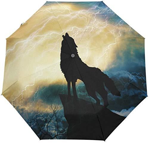 Wolf huilen naar onweer 3 vouwen Auto openen sluiten paraplu
