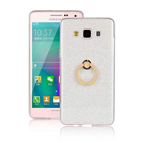 Sangrl Ring Funda para Samsung Galaxy A3 (2015) 4.5 Pulgada, 360 Grados Giratorio Ring Grip Caso con Purpurina TPU de Silicona Suave Funda Case Blanco