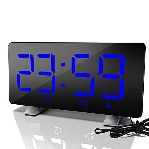 Digital Alarm Clock, 7'' LED Curved Screen, FM Radio  Dual Alarms   12/24 Hour   Snooze Function   3 Brightness, Ultra-Clear Large Number Bedside Alarm Clock for Bedroom Kitchen Office