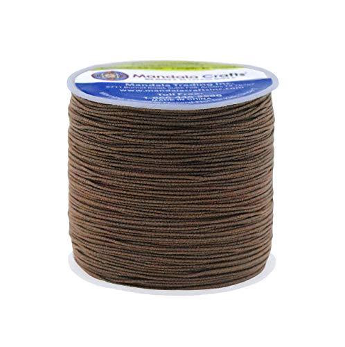 Shirring Elastic Thread for Sewing - Thin Fine Elastic Sewing Thread for Sewing Machine Knitting by Mandala Crafts 0.6mm 87 Yards Brown