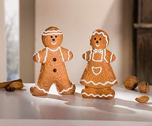 Dekoleidenschaft 2 Lebkuchen-Figuren aus Terracotta, braun, Mann & Frau, Weihnachts-Deko, Advents-Dekoration