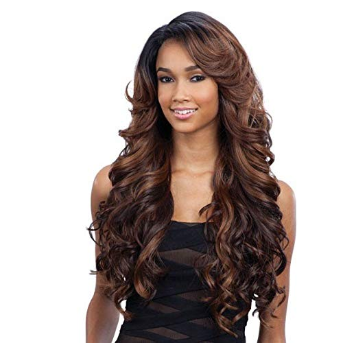"""FreeTress Equal Lace Deep Invisible """"L"""" Part Lace Front Wig - KARISSA (1B Off Black)"""