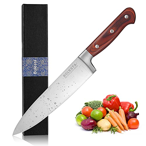 BOLESTA Chef Knife 8quotProfessional Chef Knife Super Sharp German High Carbon Stainless Steel(14116)with Ergonomic Safflower pear Handle Craft Forged Family MultiFunction Kitchen Knife