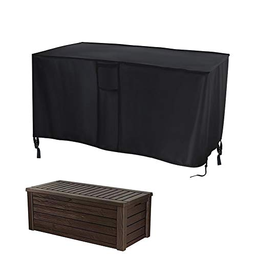 POMER Deck Box Cover,132x44x57cm Waterproof Oxford Fabric Container Box Cover with Buckles & Handles for Keter, Suncast