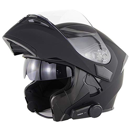 QZH Casco De Moto Bluetooth, Casco De Moto Modular Integrado con Bluetooth, Auriculares Y Micrófono Incorporados con Lente Marrón Negro HD Casco De Carreras De Cara Completa,Negro,XL61to62cm