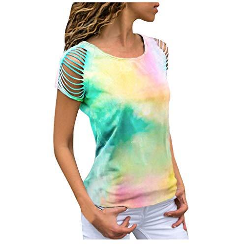 MRULIC Damen Kurzarm T-Shirt Rundhals Ausschnitt Lose Hemd Pullover Sweatshirt Oberteil Tops (EU-38/CN-M, Gelb)