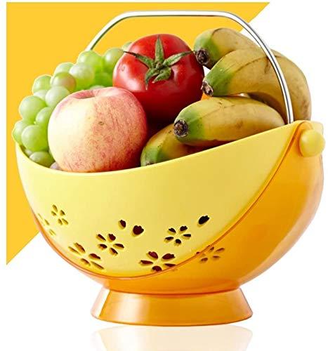 Accessoires voor thuis Safe ABS Swinging Fruit Hangmat, met 304 roestvrij stalen handgreep, grote capaciteit Fruitmand Drain Storage Basket (Kleur: geel) (Color : Yellow)
