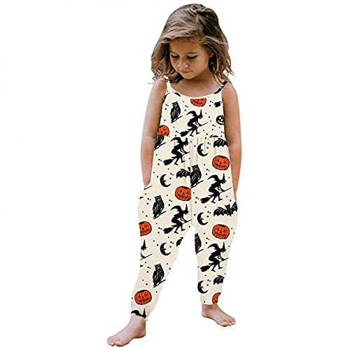 Halloween Toddler Girls  Sleeveless Jumpsuits Rompers with Pocket Cute Pumpkin Cat Ghost Harem Pants Outfits 1-6 Years