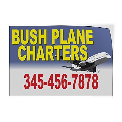 qidushop Bush Vliegtuig Charters Telefoonnummer Aangepaste Deur Decals Vinyl Stickers Zakelijk Geel 20 x 30 Metalen Decor Metalen Tin Tekens Outdoor Teken Verjaardagscadeau Grappig Teken Muur Art Decoratieve