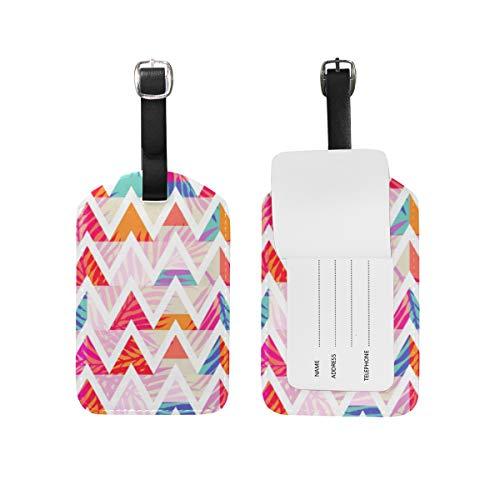 Resumen hojas de palma Chevron etiqueta de equipaje PU bolsa de cuero bolsa de viaje maleta etiqueta de equipaje 2 piezas conjunto